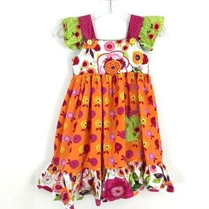 Jelly the Pug floral print dress ruffle sleeveless